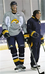 big ice hockey pants worn by Tyler Myers